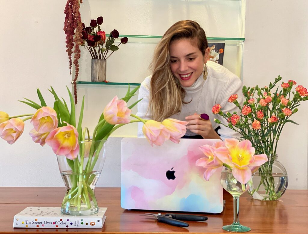flowers computer girl